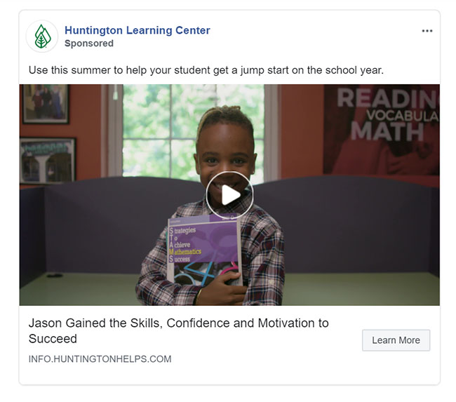 Facebook Ads - Education Ad Example - Huntington Learning Center