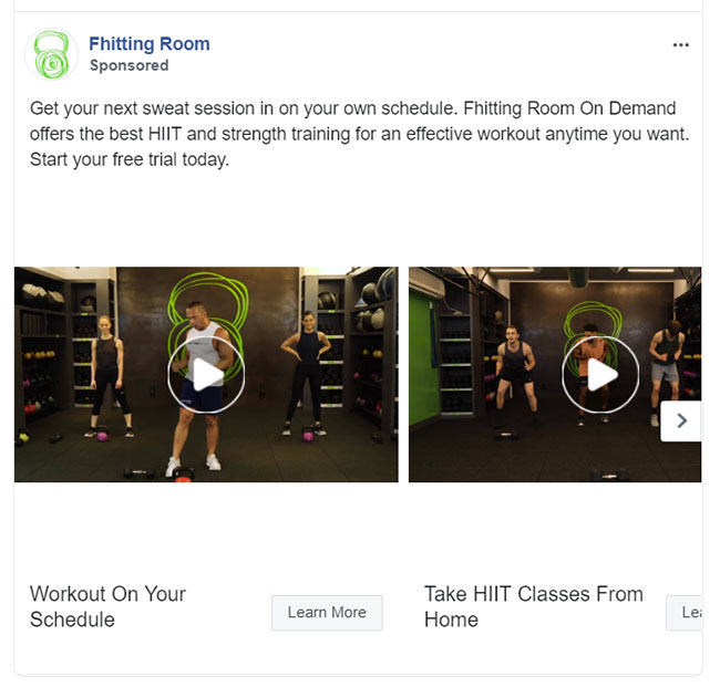 Facebook Ads - Fitness Ad Example - Fhitting Room