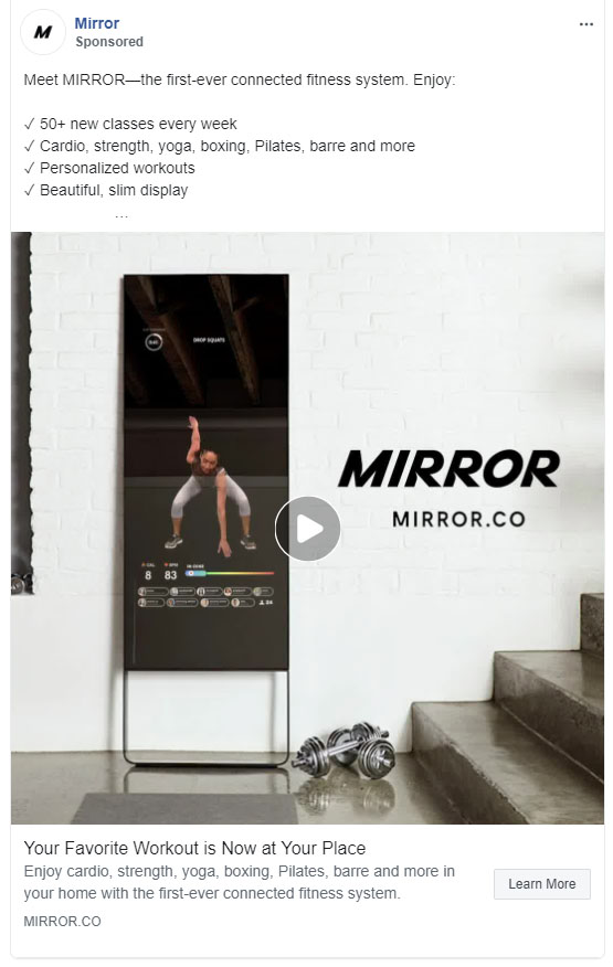 Facebook Ads - Fitness Ad Example - Mirror