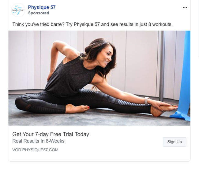 Facebook Ads - Fitness Ad Example - Physique 57