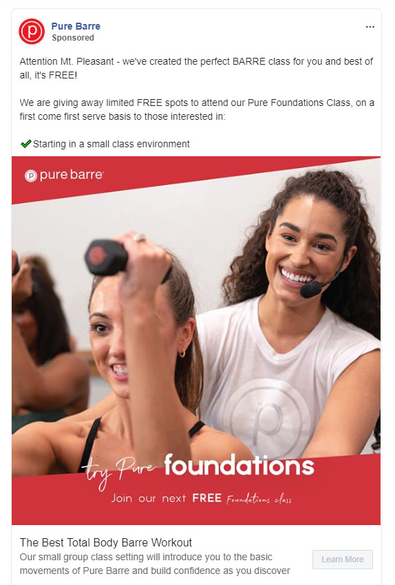 Facebook Ads - Fitness Ad Example - Pure Barre