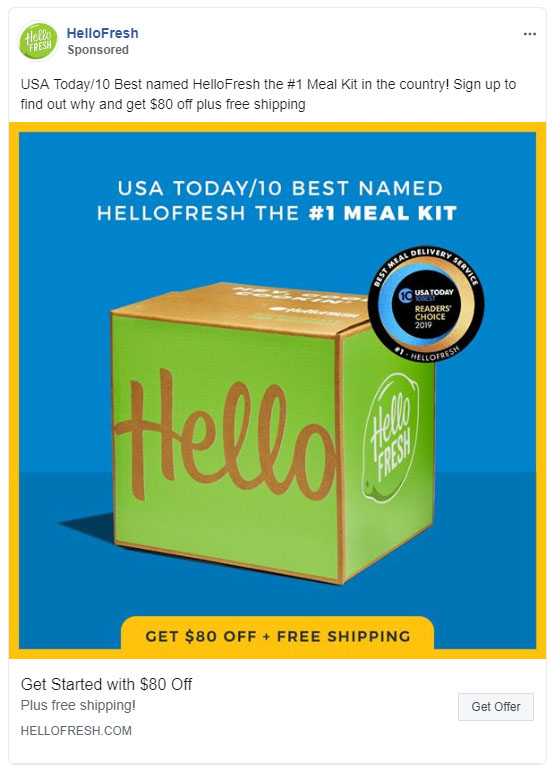 Facebook Ads - Food and Beverage Ad Example - Hello Fresh