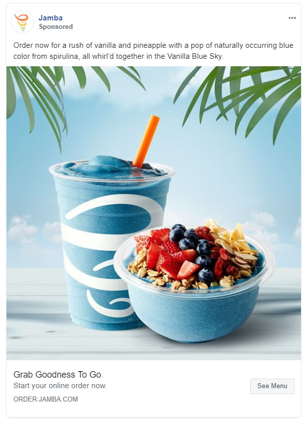 Facebook Ads - Food and Beverage Ad Example - Jamba Juice