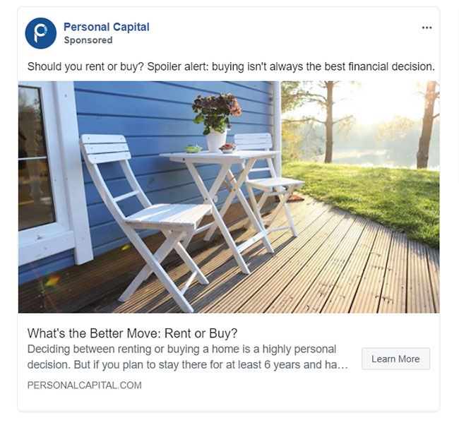 Facebook Ads - Personal Finance Ad Example - Personal Capital