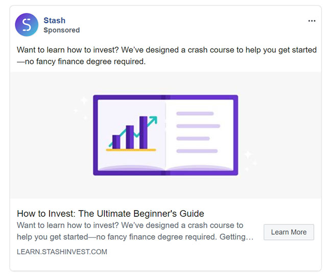 Facebook Ads - Personal Finance Ad Example - Stash