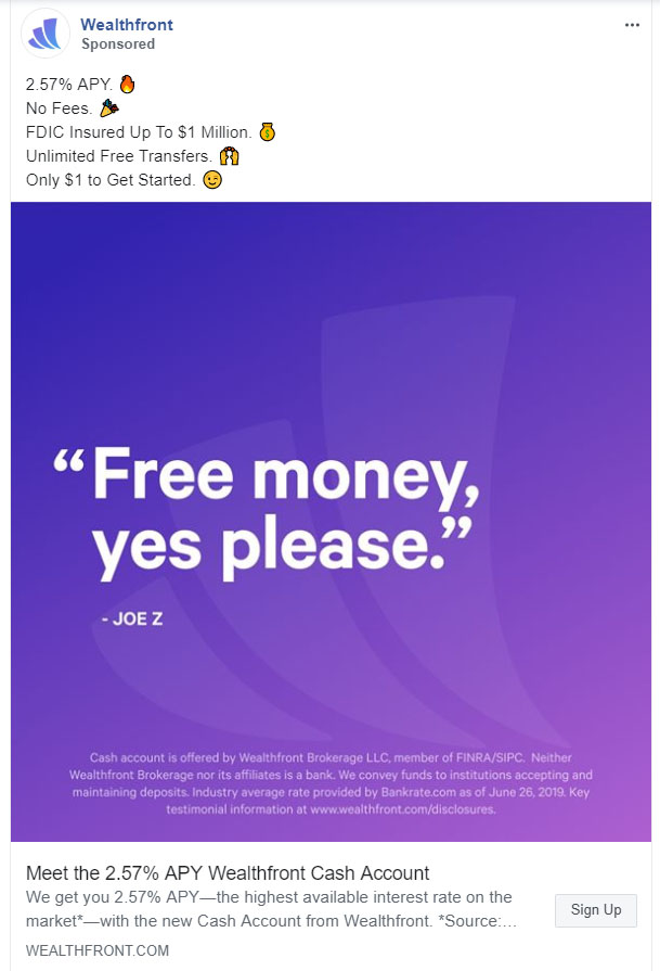 Facebook Ads - Personal Finance Ad Example - Wealthfront