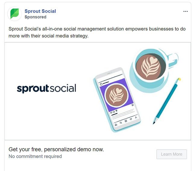 Facebook Ads - Software Ad Example - SproutSocial