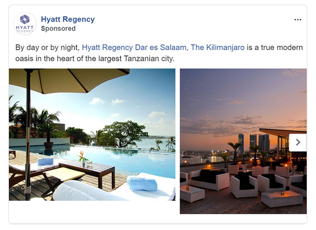 Facebook Ads - Travel and Hospitality Ad Example - Hyatt Regency