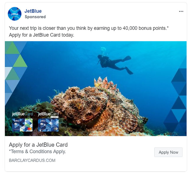 Facebook Ads - Travel and Hospitality Ad Example - JetBlue