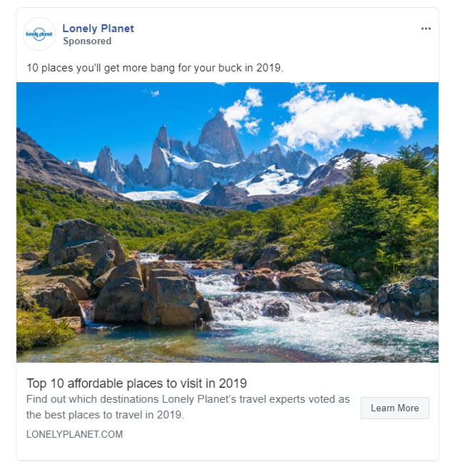 Facebook Ads - Travel and Hospitality Ad Example - Lonely Planet