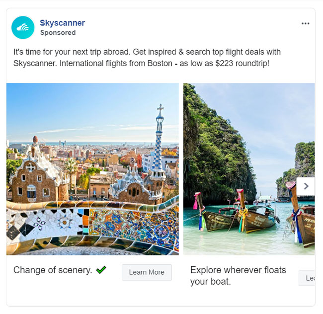Facebook Ads - Travel and Hospitality Ad Example - Skyscanner