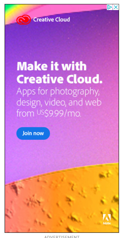 Google Display Ad Example Adobe Creative Cloud