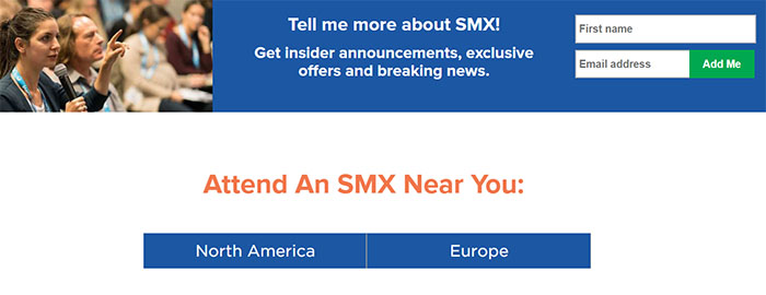 Landing Page Example - SMX Conferences