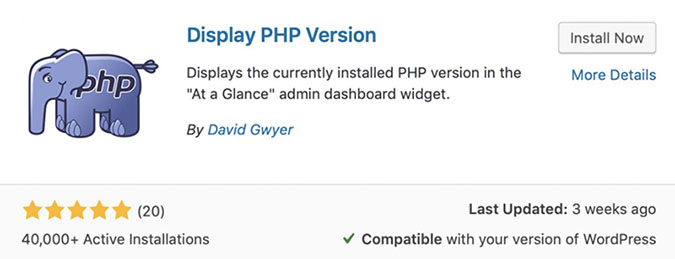 Display PHP Version WordPress Plugin