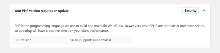 PHP Update for WordPress Security Message