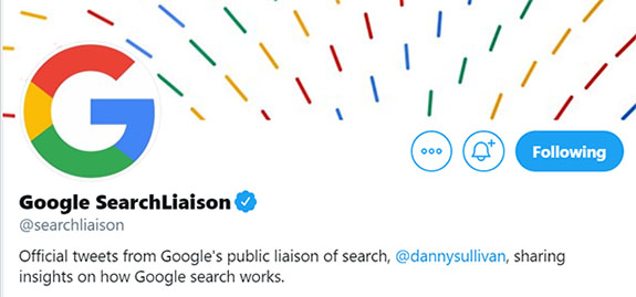 Google Search Liaison Twitter Image - Chainlink Marketing