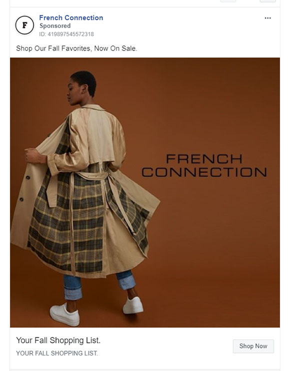 Facebook Ads - Apparel Ad Example - French Connection