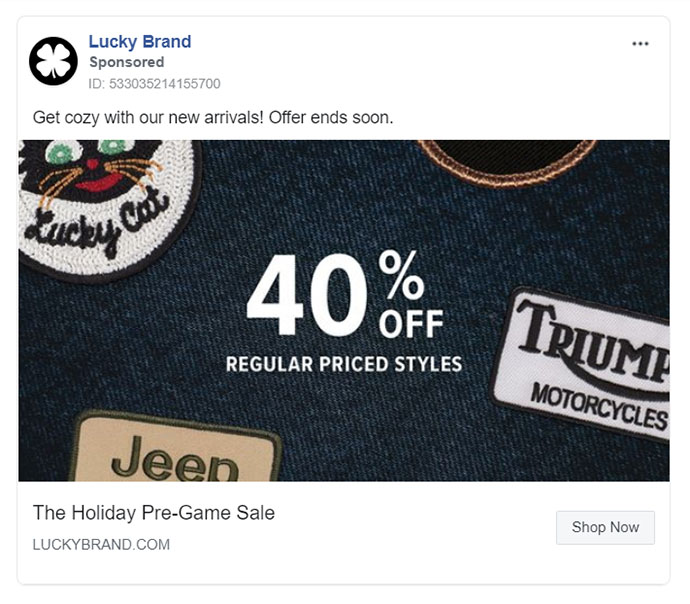 Facebook Ads - Apparel Ad Example - Lucky Brand
