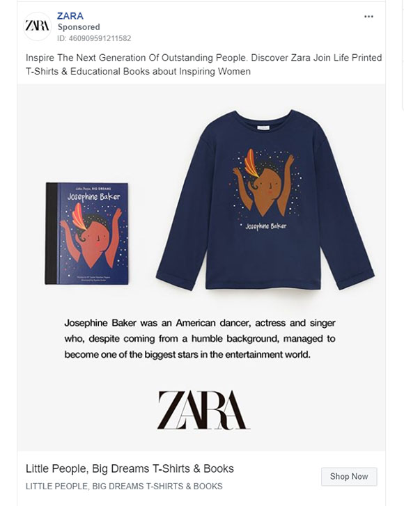 Facebook Ads - Apparel Ad Example - Zara
