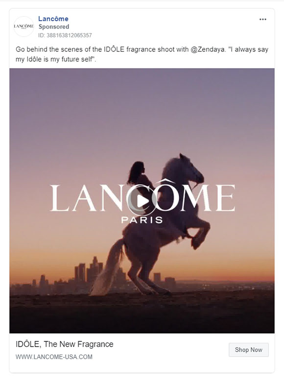 Facebook Ads - Beauty Ad Example - Lancome