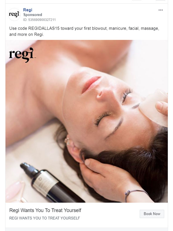 Facebook Ads - Beauty Ad Example - Regi