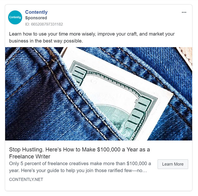 Facebook Ads - Business Tool Ad Example - Contently
