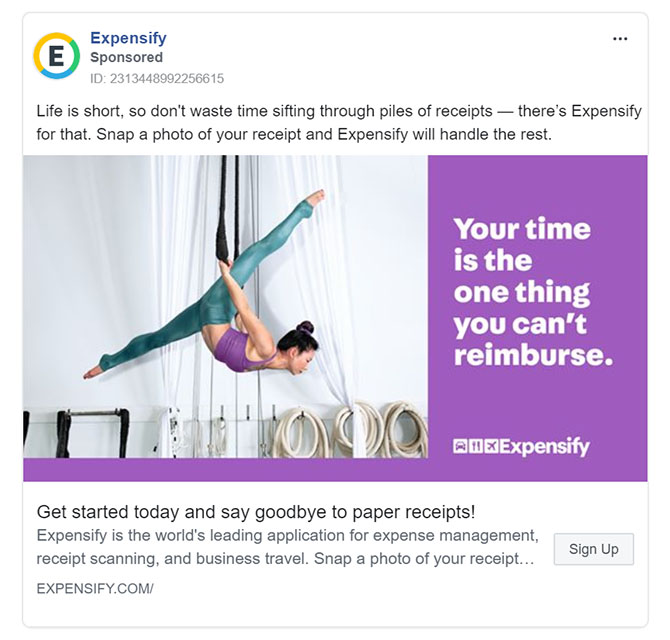 Facebook Ads - Business Tool Ad Example - Expensify