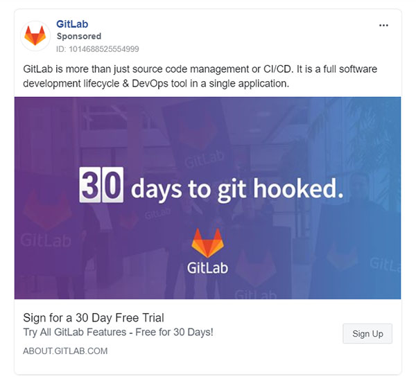 Facebook Ads - Business Tool Ad Example - Gitlab
