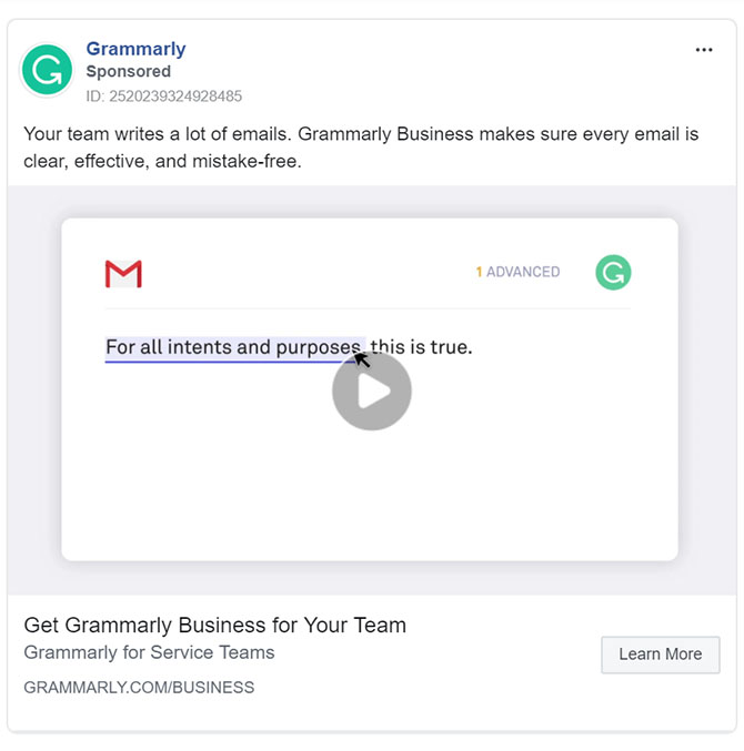 Facebook Ads - Business Tool Ad Example - Grammarly