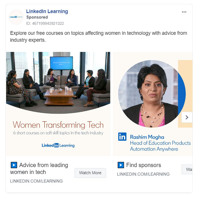 Facebook Ads - Educational Company Ad Example - Linkedin Learning