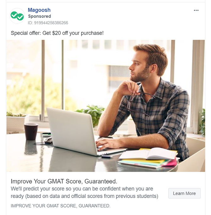 Facebook Ads - Educational Company Ad Example - Magoosh