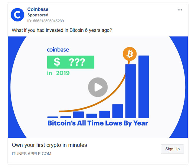 Facebook Ads - Finance Ad Example - Coinbase