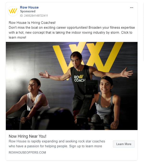Facebook Ads - Fitness Ad Example - Row House