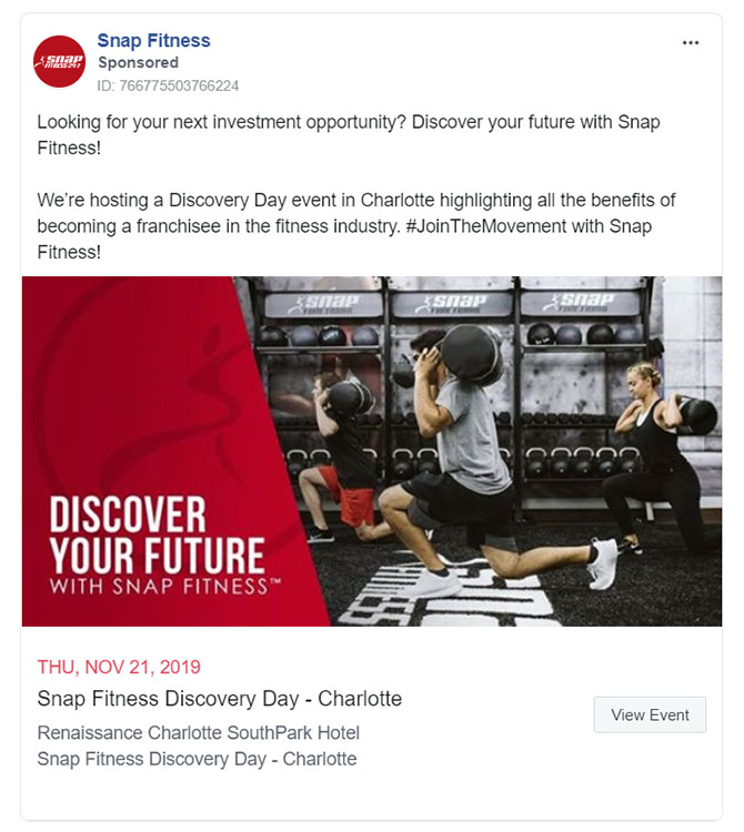 Facebook Ads - Fitness Ad Example - Snap Fitness