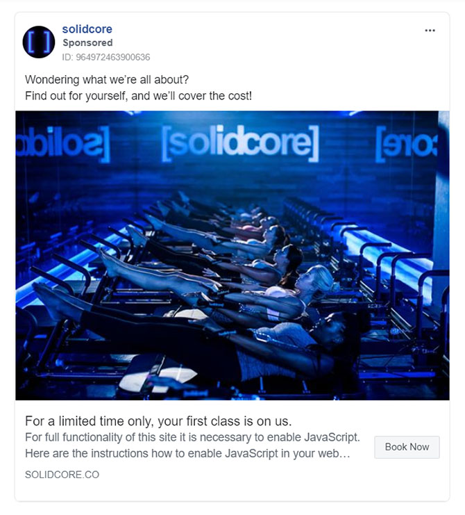 Facebook Ads - Fitness Ad Example - Solidcore