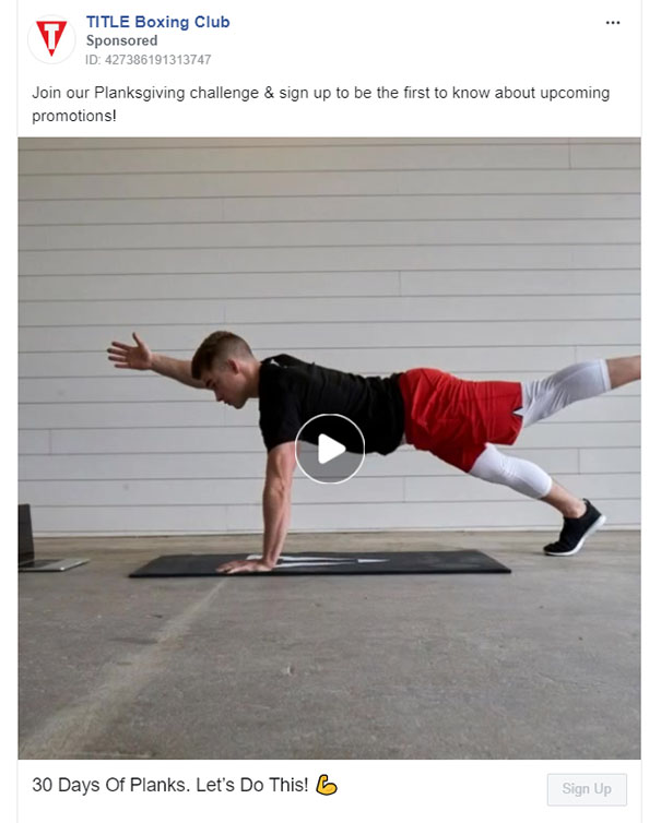 Facebook Ads - Fitness Ad Example - TITLE Boxing