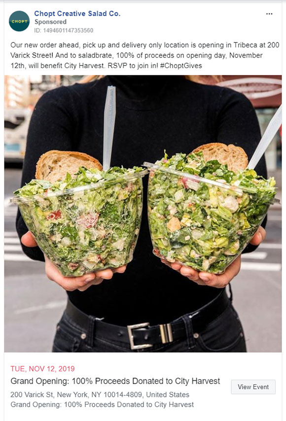 Facebook Ads - Food Ad Example - Chopt