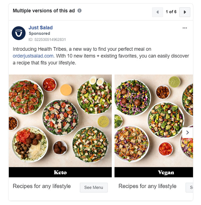 Facebook Ads - Food Ad Example - JustSalad