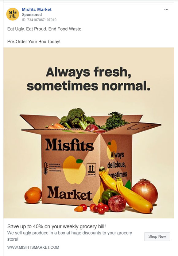 Facebook Ads - Food Ad Example - Misfits
