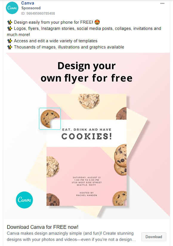 Facebook Ads - Software Ad Example - Canva
