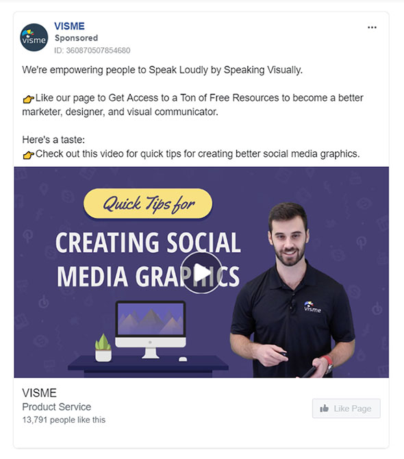 Facebook Ads - Software Ad Example - Visme