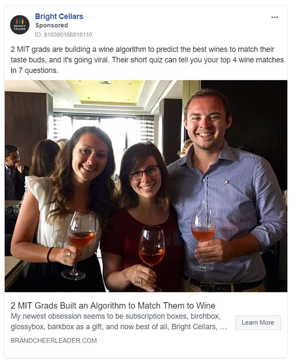Facebook Ads - Subscription Company Ad Example - Bright Cellars