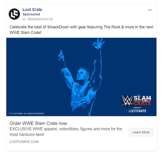 Facebook Ads - Subscription Company Ad Example - Loot Crate