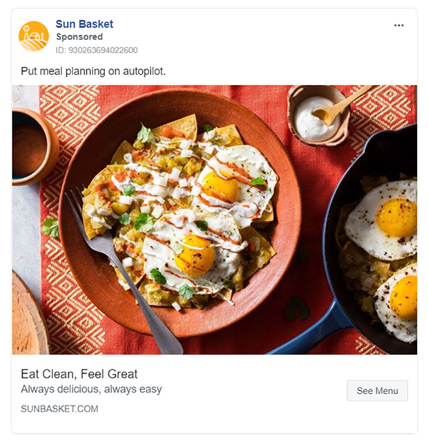 Facebook Ads - Subscription Company Ad Example - Sun Basket