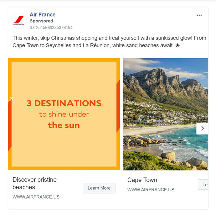Facebook Ads - Travel Ad Example - Air France
