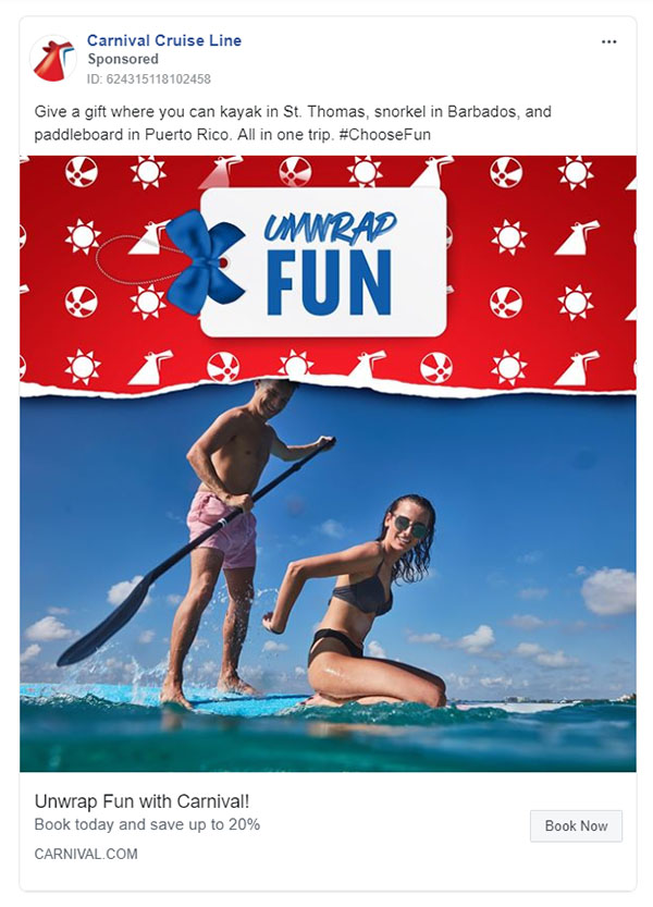 Facebook Ads - Travel Ad Example - Carnival Cruise Line