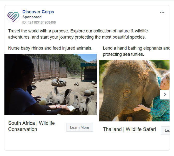 Facebook Ads - Travel Ad Example - Discover Corps