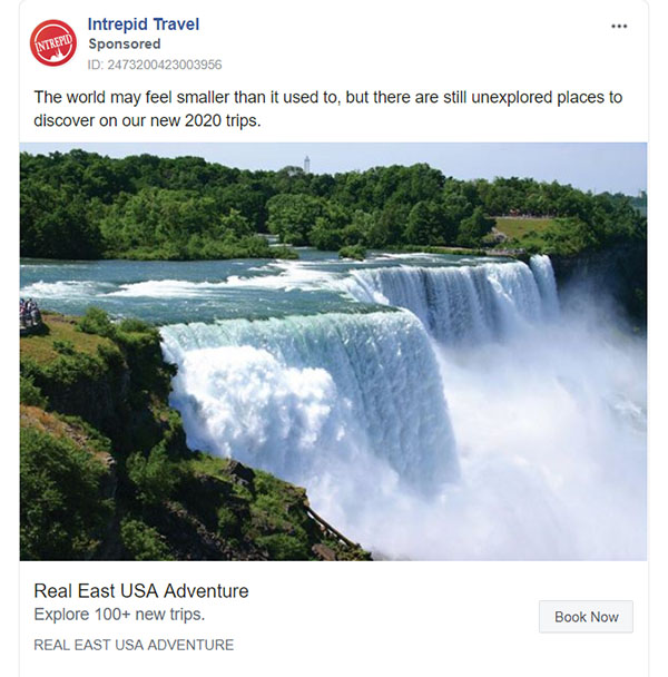 Facebook Ads - Travel Ad Example - Intrepid