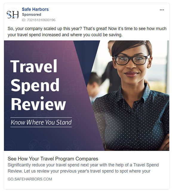 Facebook Ads - Travel Ad Example - Safe Harbors