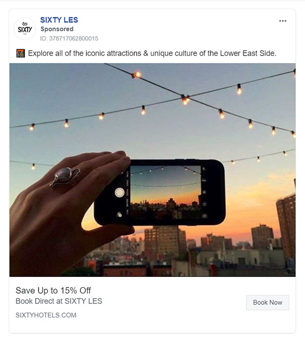 Facebook Ads - Travel Ad Example - Sixty LES